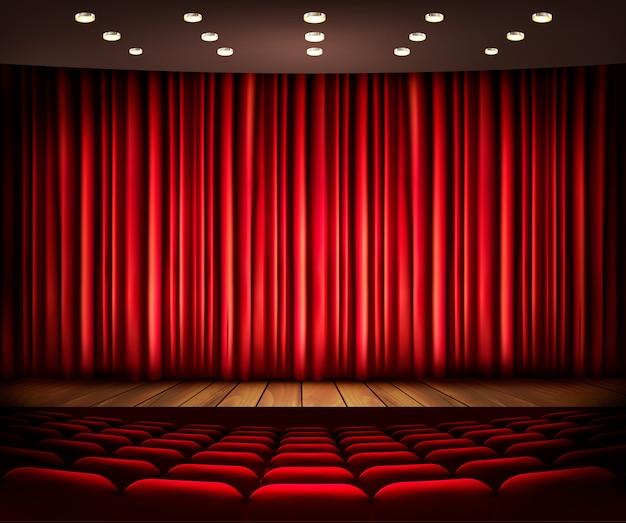 Bioscoop- of theaterscène met een gordijn.