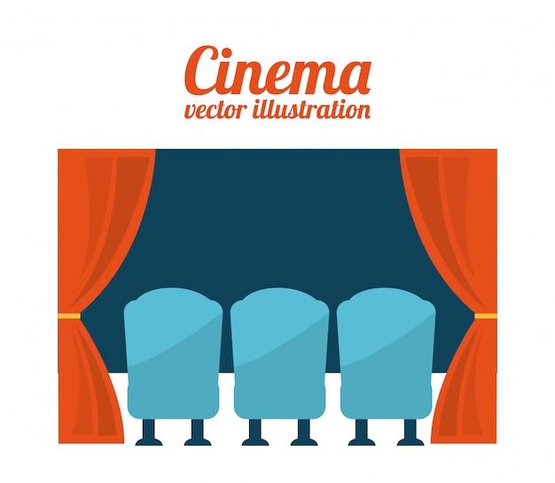 Bioscoop ontwerp over witte achtergrond vectorillustratie