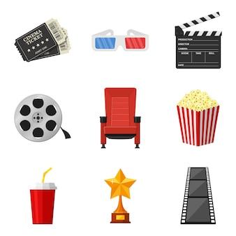 Bioscoop pictogrammen instellen in vlakke stijl op witte achtergrond. om film in de bioscoop te huren en te bekijken, decoratieve elementen. accessoires bioscopen. film- en filmconcept.