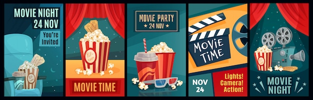 Bioscoop poster. nachtfilmfilms, popcorn en retro filmposters sjabloon illustratie set