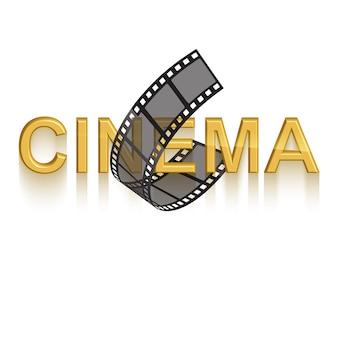 Bioscoop poster ontwerpsjabloon 3d gouden tekst van bioscoop versierd met filmstrip