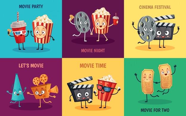 Bioscoop stripfiguren. grappige popcorn, bioscoopkaartjes en filmbril vrienden mascottes illustratie set