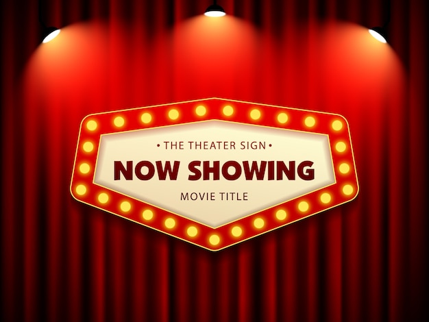 Bioscoop theater retro teken op gordijn met schijnwerpers