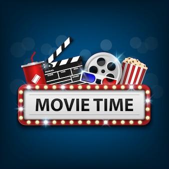 Bioscoop uithangbord op blauw