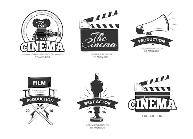 Bioscoop vintage etiketten instellen