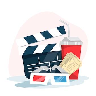 Bioscoop webbanner concept. frisdrank, kaartje, klepel