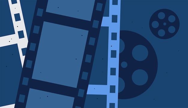 Bioscoopfilmachtergrond met filmstrip vectorontwerp
