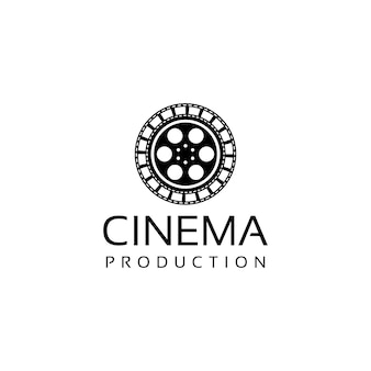 Bioscoopfilmfilmlogo-ontwerp met oude filmcartridge en filmstrip