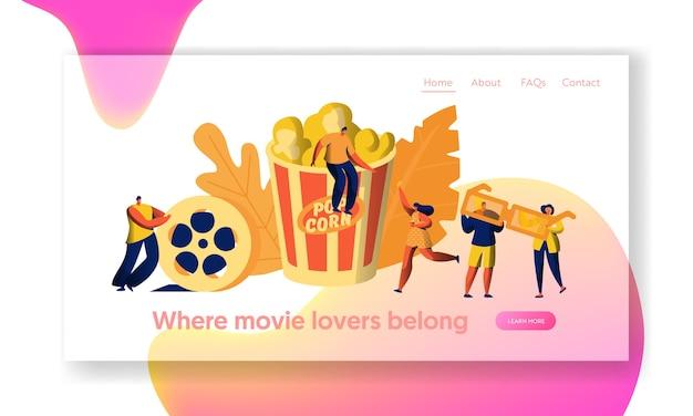 Bioscoopfilmtijd met bestemmingspagina voor popcorn en drankjes. jongeren in 3d-bril. vrouw draagt filmticket. award cinematography website of webpagina. platte cartoon vectorillustratie
