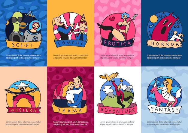 Bioscoopgenres kleurrijke banners sjabloon set