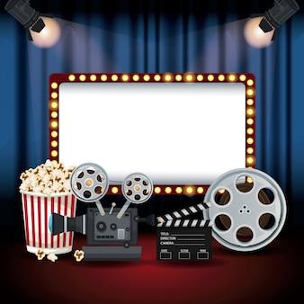 Bioscoopgordijn met schijnwerpers en billboard-bannerfilm