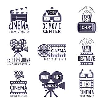 Bioscooplabels ingesteld. badges met zwarte afbeeldingen in de film- en videoproductie-industrie