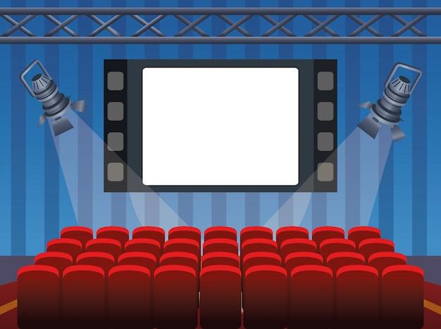 Bioscoopontwerp met scherm en stoelen