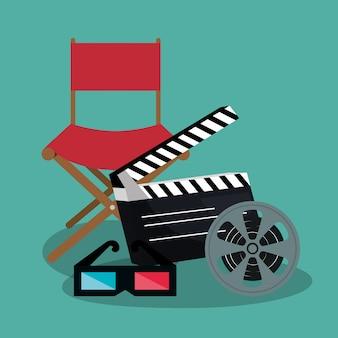 Bioscoopregisseur stoel met pictogrammen