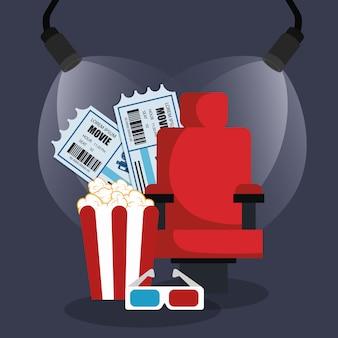 Bioscoopstoel met popcorn en kaartjes