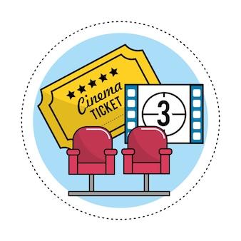 Bioscoopstoelen met kaartjes en aftellen van films