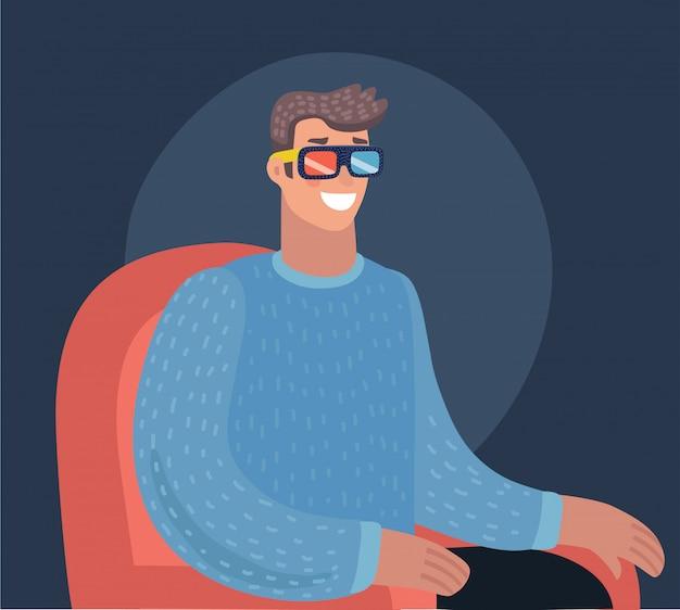 Bioscooptijd. home movie kijken. cartoon illustratie. rode bank. web, banner en logo. popcorn, cola en 3d-bril. vintage-stijl. eten en drinken. gelukkig man.
