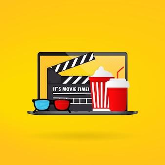 Bioscooptijd. popcornkom, filmstrip en kaartjes, filmglazen.