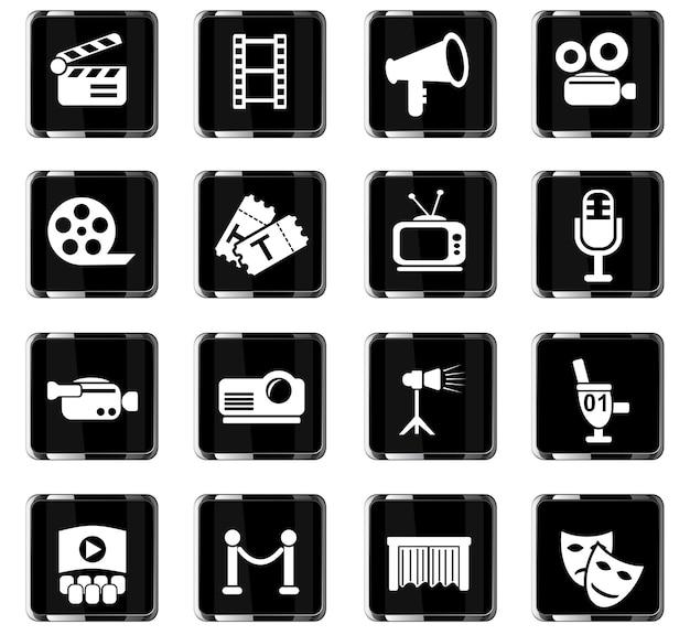 Bioscoopwebpictogrammen voor gebruikersinterfaceontwerp