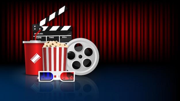 Bioskoop achtergrondconcept, bioscoopvoorwerp op rood gordijn