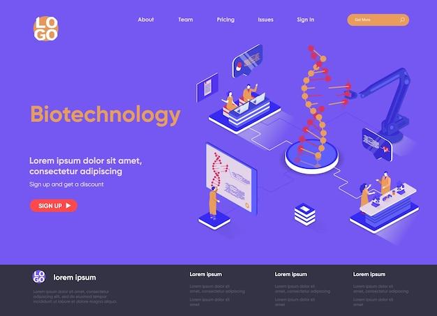 Biotechnologie 3d isometrische bestemmingspagina website illustratie met karakters van mensen