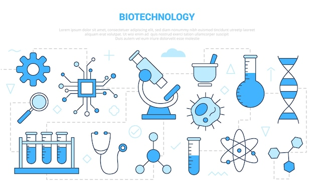 Biotechnologie concept met pictogrammenset sjabloon banner met moderne blauwe kleur stijl illustratie