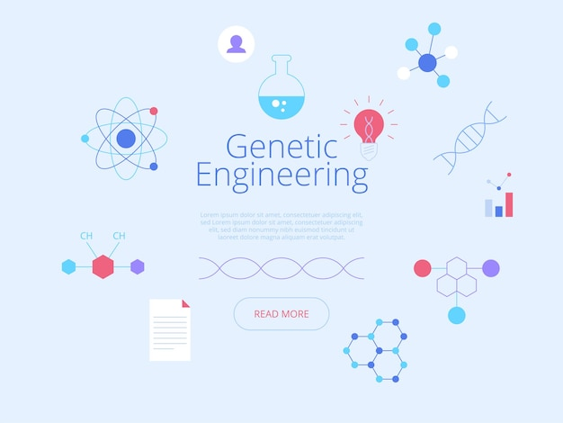 Biotechnologie. futuristische website-homepage-interface-idee met platte illustraties