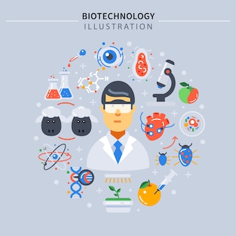 Biotechnologie gekleurde samenstelling