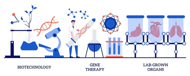 Biotechnologie, gentherapie, in het laboratorium gekweekte organenconcept met kleine mensen. bioengineering industrie abstracte vector illustratie set. stamcellen, laboratoriumonderzoek, genetische kankerbehandeling metafoor.