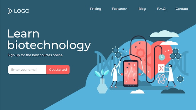 Biotechnologie kleine personen vector illustratie bestemmingspagina sjabloonontwerp