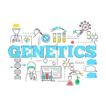 Biotechnologie lineair ontwerp met blauwe titelspecialisten en wetenschappelijke uitrusting bacteriën en dieren