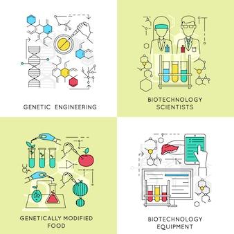 Biotechnologie lineaire composities met inbegrip van wetenschappers en genetische manipulatie gemodificeerd voedsel en professionele apparatuur geïsoleerd