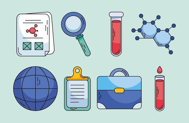 Biotechnologie pictogrammenset in de hand getrokken