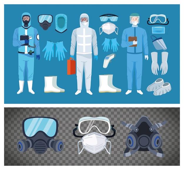 Bioveiligheidsarbeiders met uitrustingselementen voor covid19-bescherming