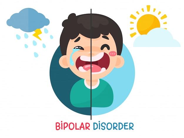 Bipolaire stoornis. mannen met stemmingswisselingen als gevolg van een bipolaire stoornis. soms blij en verdrietig om aan zelfmoord te denken.