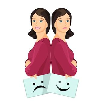 Bipolaire vrouw glimlachend en overstuur met vellen papier met een blije en ongelukkige smiley