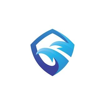 Bird eagle head en shield-logo