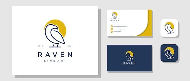Bird eagle raven luxe modern logo-ontwerp met lay-out voor merkidentiteit