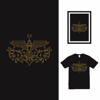 Bird fly line art t-shirt design