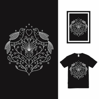 Bird love monoline t-shirt design