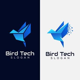 Bird tech-logo, digitale vogel logo sjabloon