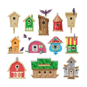 Birdhouse cartoon birdbox en birdie houten huis illustratie set van vogels zingen vogelgezang in decoratief huis
