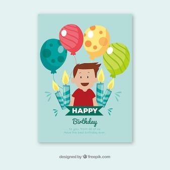 Birhtday kaart iwith jongen en ballonnen n hand getrokken stijl