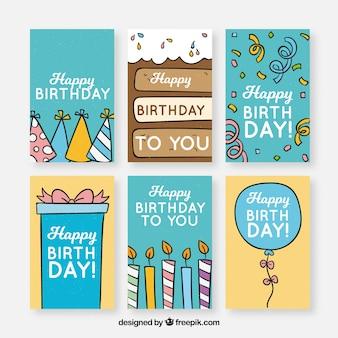 Birhtday-kaartenverzameling met feestelementen
