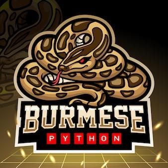 Birmese pythonslang mascotte. esport logo ontwerp