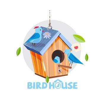 Birs huis met familie van blauwe vogels