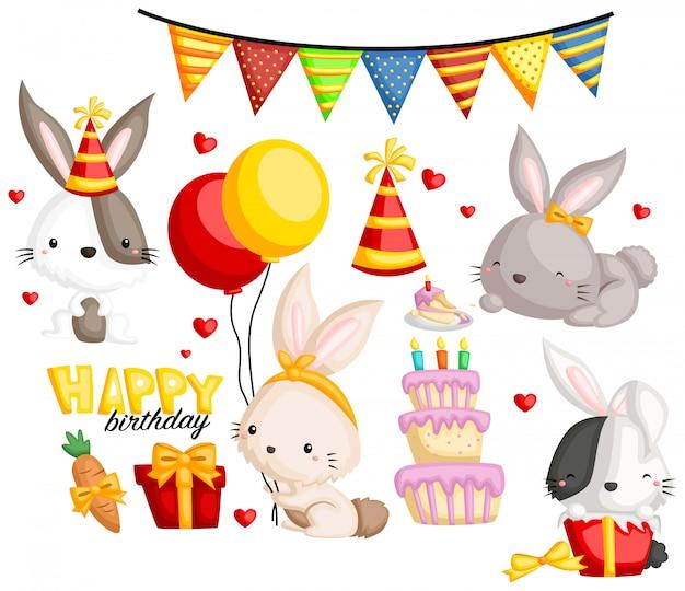 Birthday bunny-afbeeldingenset