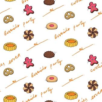 Biscuit pictogram naadloze achtergrond