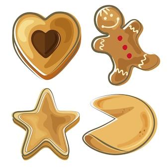 Biscuit voedsel doodle ontwerpset