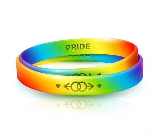 Biseksualiteitsdag en internationale dag voor lgbt-tolerantie. regenboog rubberen armbanden